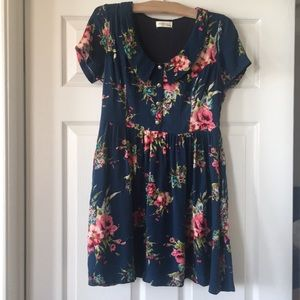 Navy Blue, Retro Inspired, Floral Dress